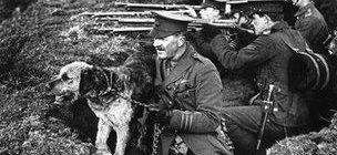 Captain Richardson with his dog in 1914