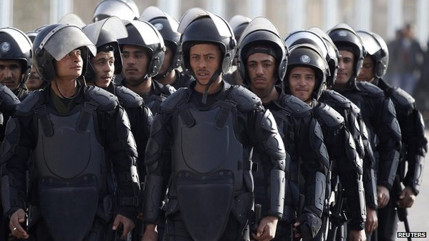 Cairo security at police academy (8 Jan (2014)