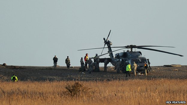 The scene where a US Pave Hawk helicopter crashed killing four people at Cley next the Sea, Norfolk