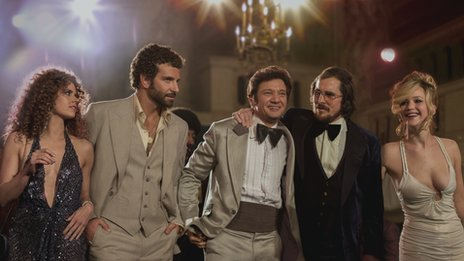 The ensemble cast of American Hustle includes (from left) Amy Adams, Bradley Cooper, Jeremy Renner, Christian Bale and Jennifer Lawrence