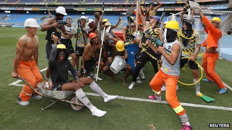 "Soccer players of Botafogo soccer club participate in a flash mob dance based on a new dance craze, the ""Harlem Shake"", at the Joao Havelange Olympic stadium in Rio de Janeiro"