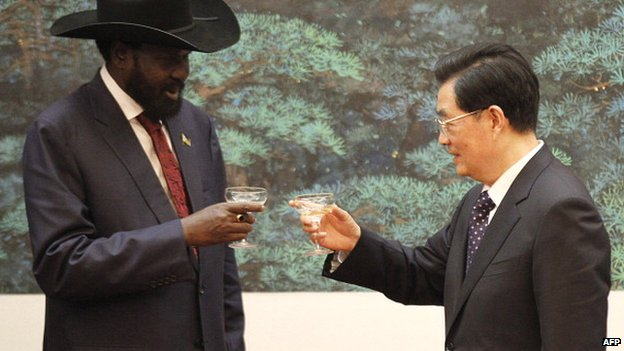 Left: South Sudan President Salva Kiir with his then Chinese counterpart Hu Jintao after a signing ceremony at the Great Hall of the People in Beijing on 24 April 2012
