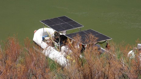 Solar-panelled boat on the Colorado River