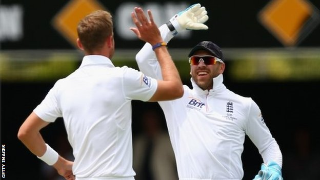 Stuart Broad and Matt Prior