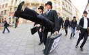 Supporters of  Monty Python take part in the International Silly Walk Day