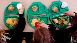 Pupils enjoying school dinners