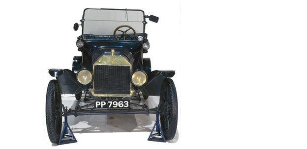 A front view of a Ford Model T