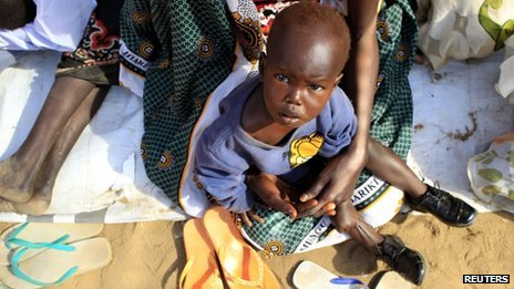 A displaced child in Juba, South Sudan (7 January 2013)