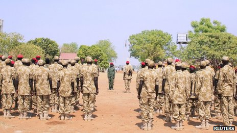 South Sudanese soldiers gather for a briefing at the army general headquarters in Juba on 8 January 2014