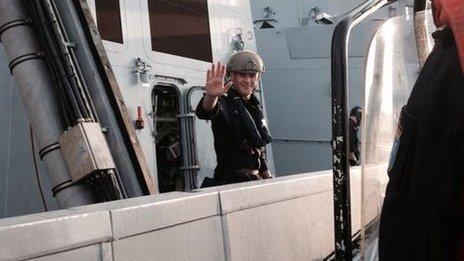 Leaving the Norwegian frigate HNoMS Helge Ingstad