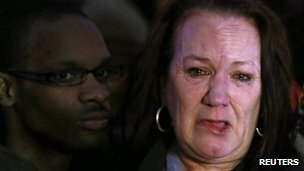 Pamela Duggan, the mother of Mark Duggan, weeps outside the High Court