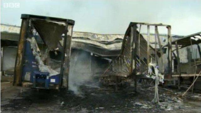 Fire damaged Real Crisps plant in September 2012