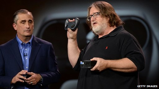 Gabe Newell and Steam Box controller