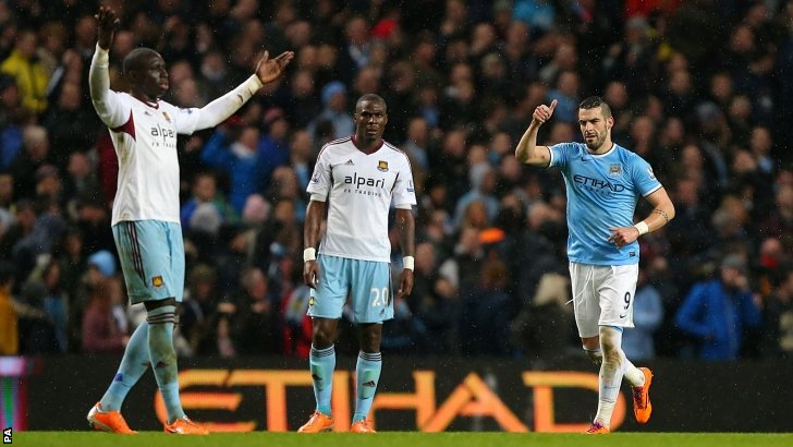 Alvaro Negredo (right) celebrates scoring for Manchester City