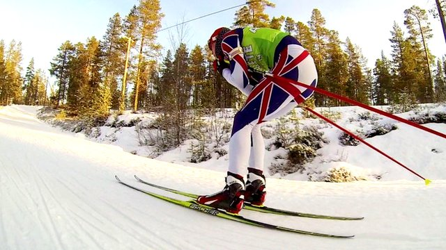 British biathlete in training