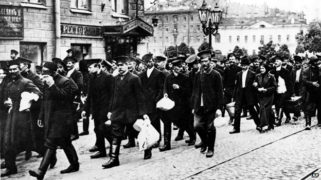 St Petersburg reservists assemble for military duty at the outbreak of WW1