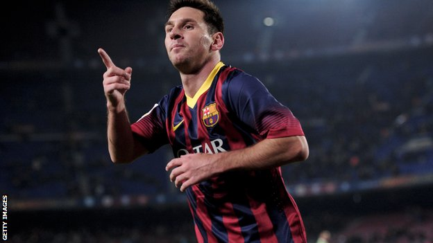 Lionel Messi celebrates a goal on his return from injury