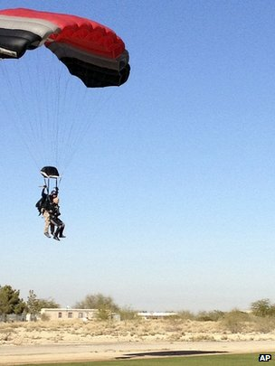 Gabrielle Giffords comes in to land in her tandem jump