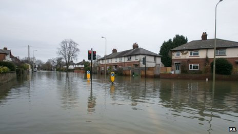 A flooded road junction