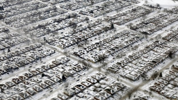 Homes  in Chicago are seen covered in snow and ice