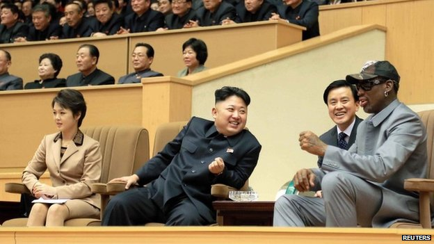 North Korean leader Kim Jong Un (2nd L) watches a basketball game in Pyongyang in undated photo released by North Korea's Korean Central News Agency (KCNA) on 9 January 2014