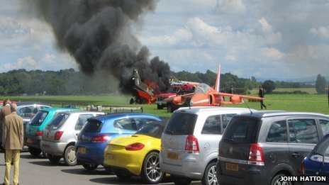 The Bronco plane on fire at Cotswold Airport