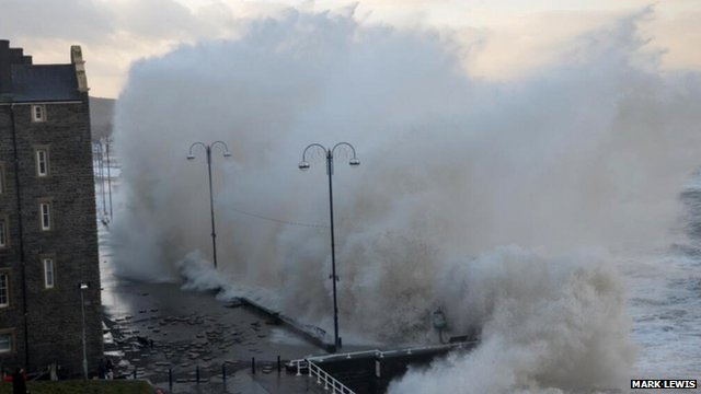 Aberystwyth seafront being pounded by the waves