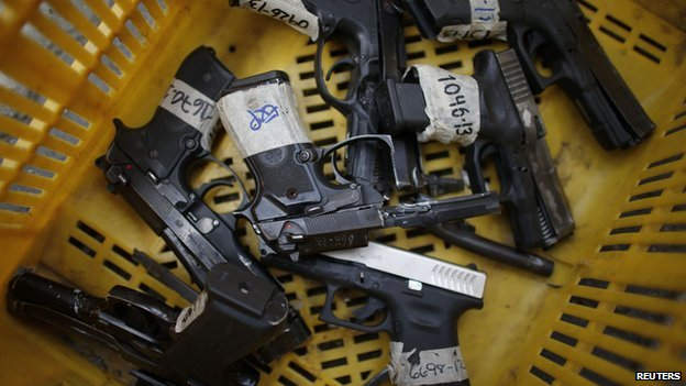 Seized pistols for destruction