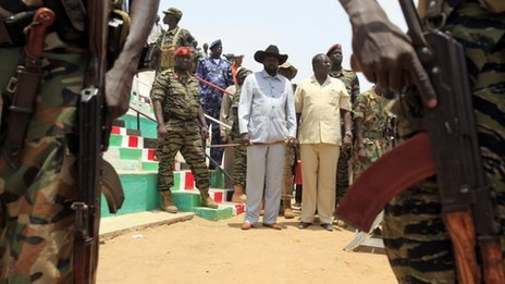 Salva Kiir (in a cowboy hat) with Riek Machar in South Sudan's  Bentiu city in Unity state on 8 April 2010