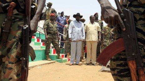 Salva Kiir (in a cowboy hat) with Riek Machar in South Sudan's  Bentiu city in Unity state on 8 April 2010