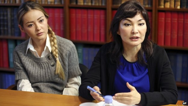 Mukhtar Ablyazov's wife Alma Shalabayeva, right, and daughter Madina, left