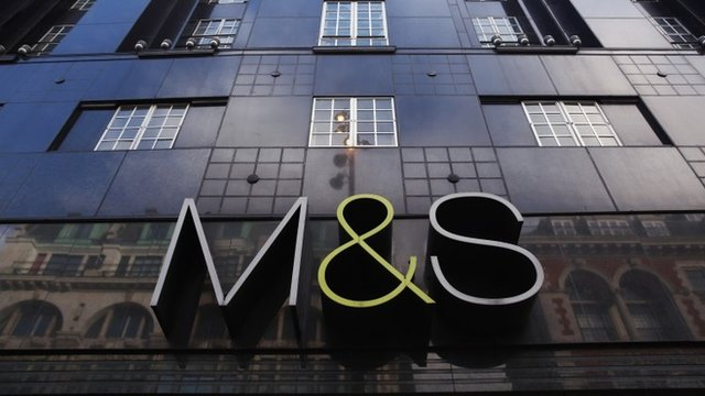 The sign for a branch of Marks ^ Spencer on January 7, 2014