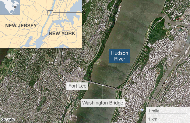 Map showing the location of the Washington Bridge