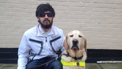 Mahomed Khatri with his guide dog