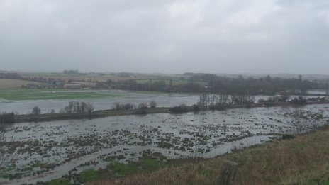 River Frome flooding from Poundbury Fort, Dorchester