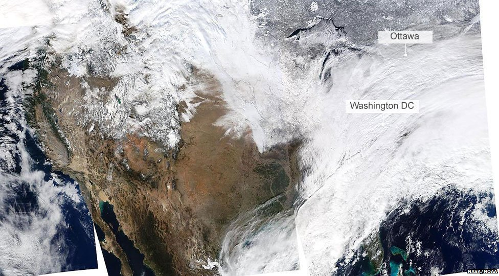2 January satellite image of North America