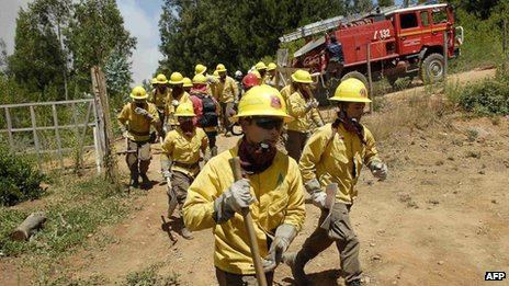 Workers from Chile's National Forestry Corporation rush to battle a forest fire at Tome town on 7 January, 2014