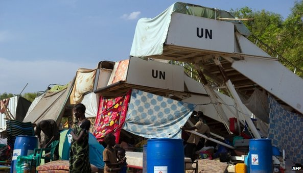 Aircraft stairways provide shelter for people living in a camp for internally displaced persons at the United Nations Mission to South Sudan (UNMISS) base in Juba