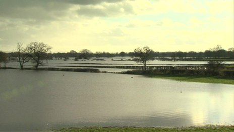 Flooded agricultural land near Wrexham, north Wales