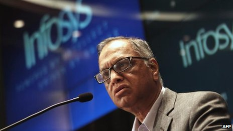 N R Narayana Murthy speaks at an Infosys press conference