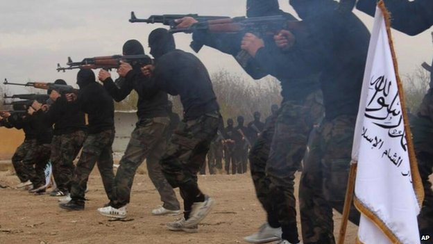 Members of Ahrar al-Sham brigade, one of the Syrian rebels groups, exercise in a train camp at unknown place in Syria. File picture released on Facebook on Friday 29 November 2013
