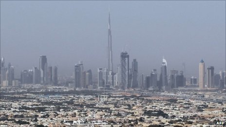Dubai skyline with Burj Khalifa tower at centre