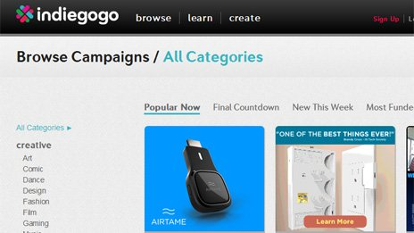 Indiegogo's website