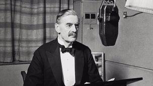 Neville Chamberlain announcing that Britain is at war with Germany