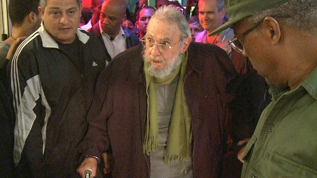 Fidel Castro attending the art exhibition
