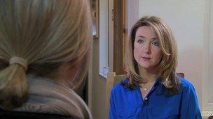 Catherine being interviewed by Victoria Derbyshire