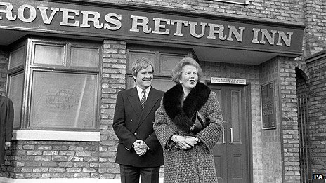 William Roache with Margaret Thatcher
