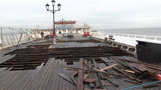 Storm surge damage on Cromer Pier