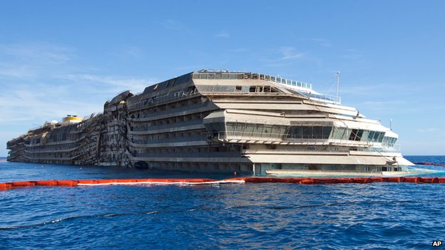 The Costa Concordia after it was brought upright in September