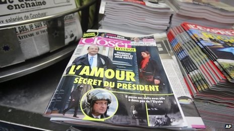 Closer magazine with photos of President Francois Hollande and actress Julie Gayet on its front page